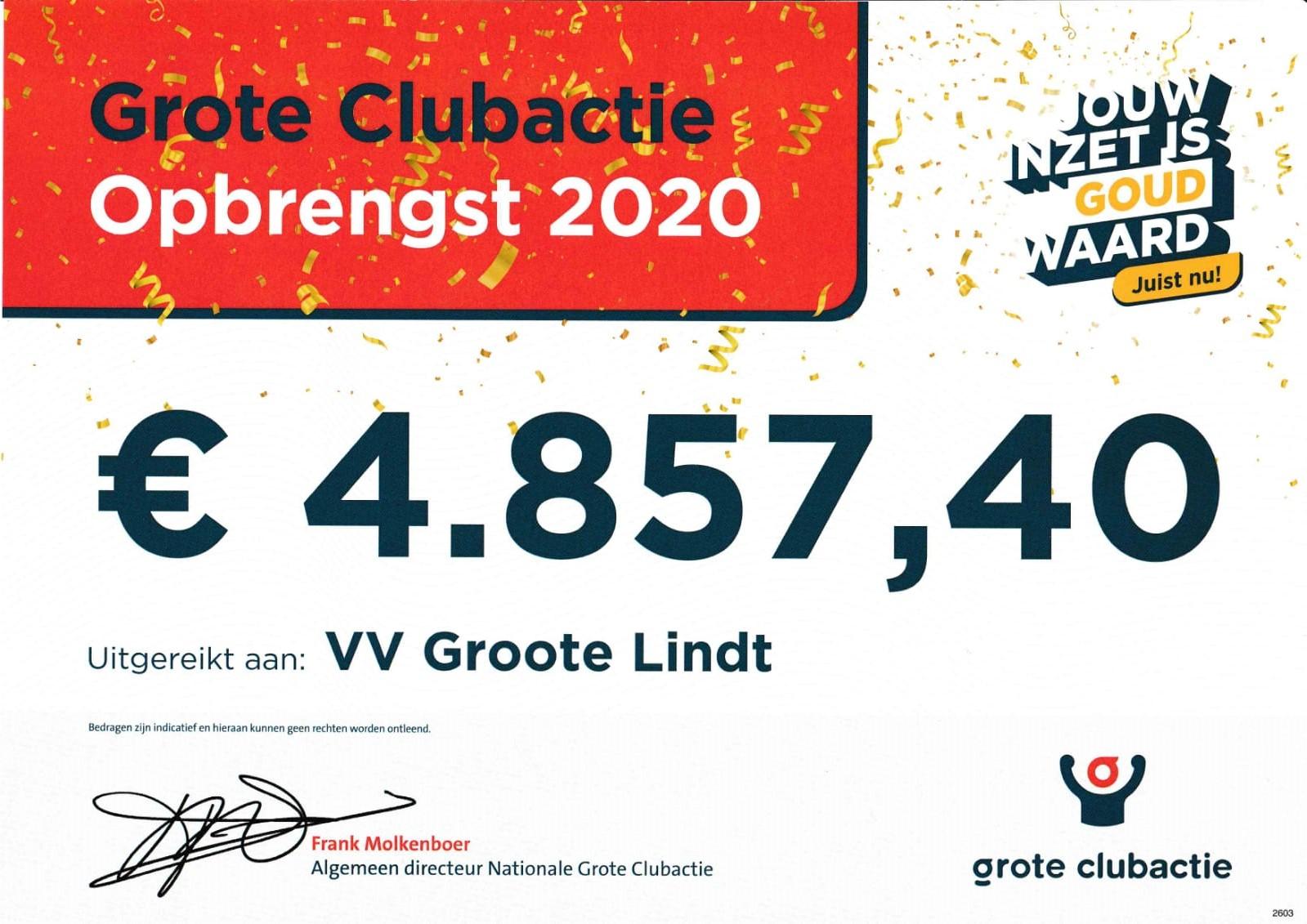 Grote Clubactie levert Groote Lindt € 4.857,40 op